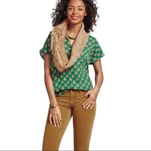 CAbi Stevie Floral Top Green 3252 Size Small